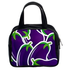 Vegetable Eggplant Purple Green Classic Handbags (2 Sides) by Mariart