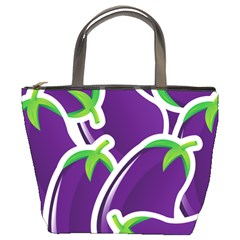Vegetable Eggplant Purple Green Bucket Bags by Mariart