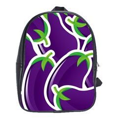 Vegetable Eggplant Purple Green School Bags(large)  by Mariart