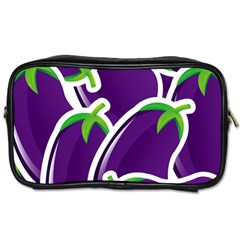 Vegetable Eggplant Purple Green Toiletries Bags 2 Side by Mariart