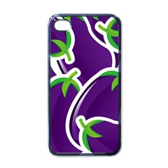 Vegetable Eggplant Purple Green Apple Iphone 4 Case (black) by Mariart