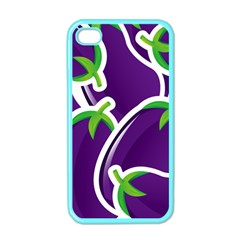 Vegetable Eggplant Purple Green Apple Iphone 4 Case (color) by Mariart