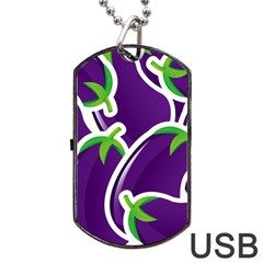 Vegetable Eggplant Purple Green Dog Tag Usb Flash (two Sides) by Mariart