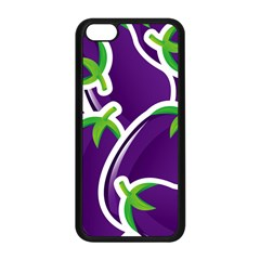 Vegetable Eggplant Purple Green Apple Iphone 5c Seamless Case (black)