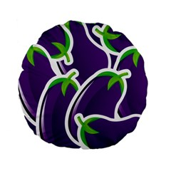Vegetable Eggplant Purple Green Standard 15  Premium Flano Round Cushions by Mariart