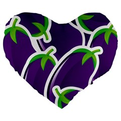 Vegetable Eggplant Purple Green Large 19  Premium Flano Heart Shape Cushions by Mariart