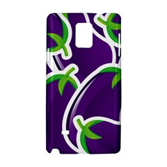 Vegetable Eggplant Purple Green Samsung Galaxy Note 4 Hardshell Case by Mariart