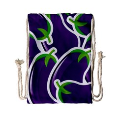 Vegetable Eggplant Purple Green Drawstring Bag (small) by Mariart