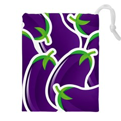 Vegetable Eggplant Purple Green Drawstring Pouches (xxl) by Mariart
