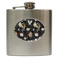 Traditional Music Drum Batik Hip Flask (6 Oz) by Mariart