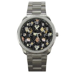 Traditional Music Drum Batik Sport Metal Watch by Mariart
