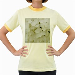 Hydrangea Flowers Blossom White Floral Photography Elegant Bridal Chic  Women s Fitted Ringer T Shirts by yoursparklingshop