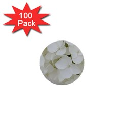 Hydrangea Flowers Blossom White Floral Photography Elegant Bridal Chic  1  Mini Buttons (100 Pack)  by yoursparklingshop
