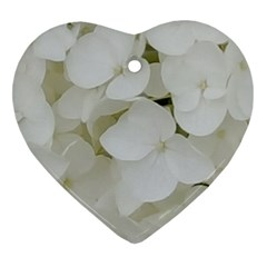 Hydrangea Flowers Blossom White Floral Photography Elegant Bridal Chic  Heart Ornament (two Sides) by yoursparklingshop