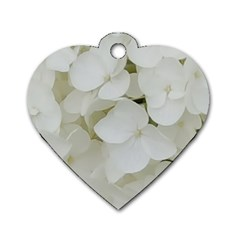Hydrangea Flowers Blossom White Floral Photography Elegant Bridal Chic  Dog Tag Heart (one Side) by yoursparklingshop