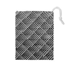 Pattern Metal Pipes Grid Drawstring Pouches (large)  by Nexatart