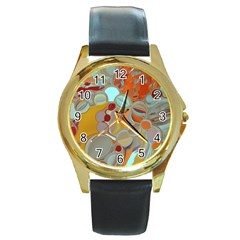 Liquid Bubbles Round Gold Metal Watch