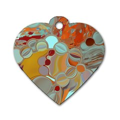 Liquid Bubbles Dog Tag Heart (Two Sides)