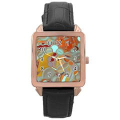 Liquid Bubbles Rose Gold Leather Watch