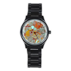 Liquid Bubbles Stainless Steel Round Watch