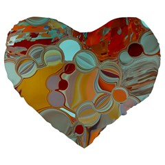 Liquid Bubbles Large 19  Premium Flano Heart Shape Cushions by digitaldivadesigns