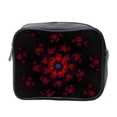Fractal Abstract Blossom Bloom Red Mini Toiletries Bag 2 Side by Nexatart