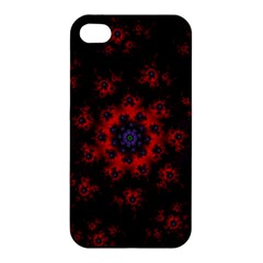 Fractal Abstract Blossom Bloom Red Apple Iphone 4/4s Premium Hardshell Case