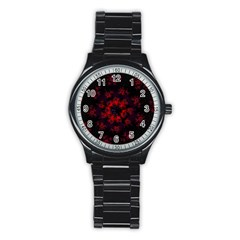 Fractal Abstract Blossom Bloom Red Stainless Steel Round Watch by Nexatart