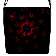 Fractal Abstract Blossom Bloom Red Flap Messenger Bag (s)
