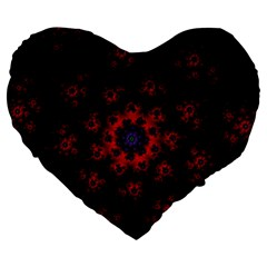 Fractal Abstract Blossom Bloom Red Large 19  Premium Flano Heart Shape Cushions by Nexatart