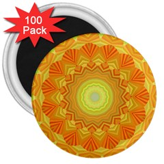 Sunshine Sunny Sun Abstract Yellow 3  Magnets (100 Pack) by Nexatart