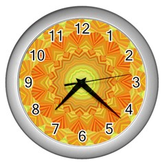 Sunshine Sunny Sun Abstract Yellow Wall Clocks (silver)  by Nexatart