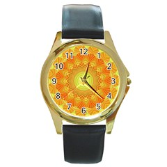 Sunshine Sunny Sun Abstract Yellow Round Gold Metal Watch