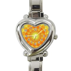 Sunshine Sunny Sun Abstract Yellow Heart Italian Charm Watch by Nexatart