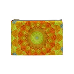 Sunshine Sunny Sun Abstract Yellow Cosmetic Bag (medium)  by Nexatart