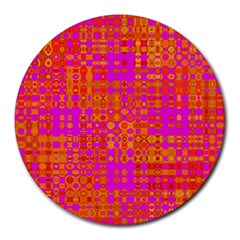 Pink Orange Bright Abstract Round Mousepads by Nexatart