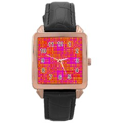 Pink Orange Bright Abstract Rose Gold Leather Watch  by Nexatart