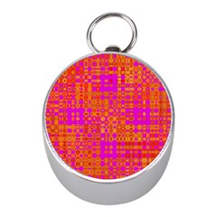 Pink Orange Bright Abstract Mini Silver Compasses by Nexatart