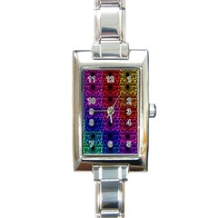 Rainbow Grid Form Abstract Rectangle Italian Charm Watch by Nexatart