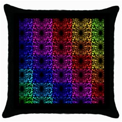 Rainbow Grid Form Abstract Throw Pillow Case (black) by Nexatart