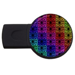 Rainbow Grid Form Abstract Usb Flash Drive Round (4 Gb) by Nexatart
