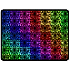 Rainbow Grid Form Abstract Double Sided Fleece Blanket (large)  by Nexatart