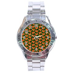 Background Wallpaper Flowers Green Stainless Steel Analogue Watch