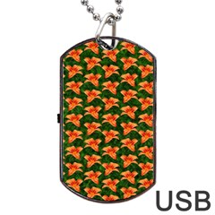 Background Wallpaper Flowers Green Dog Tag Usb Flash (two Sides) by Nexatart