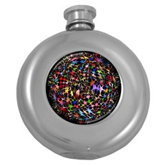 Network Integration Intertwined Round Hip Flask (5 Oz) by Nexatart