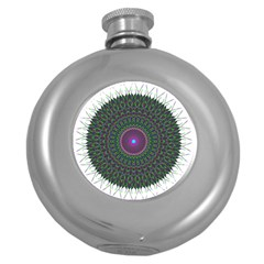 Pattern District Background Round Hip Flask (5 Oz) by Nexatart