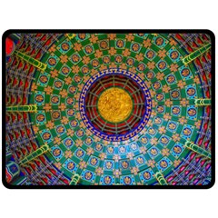 Temple Abstract Ceiling Chinese Double Sided Fleece Blanket (large)  by Nexatart
