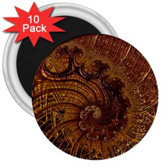 Copper Caramel Swirls Abstract Art 3  Magnets (10 Pack)