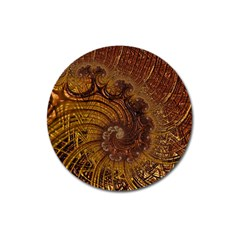 Copper Caramel Swirls Abstract Art Magnet 3  (round)