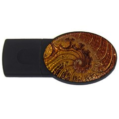 Copper Caramel Swirls Abstract Art Usb Flash Drive Oval (4 Gb) by Nexatart